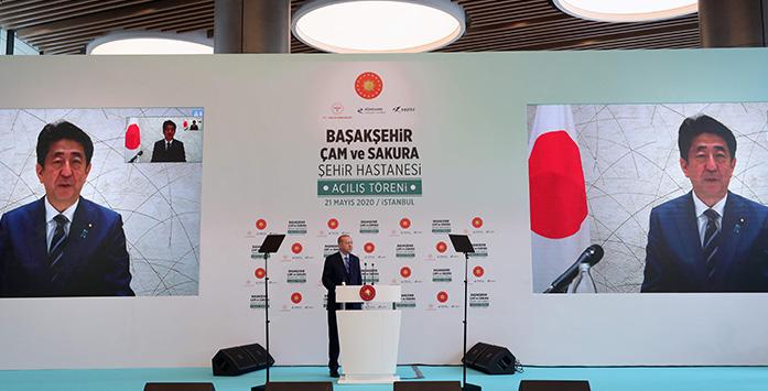 Image from President Erdogan's Hospital Opening with Japanese President Shinzo Abe