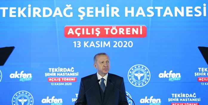 Cumhurbaşkanı Erdoğan'ın Tekirdağ Şehir Hastanesi'nin Açılışını Yaptığı Sırada Çekilmiş Fotoğrafı