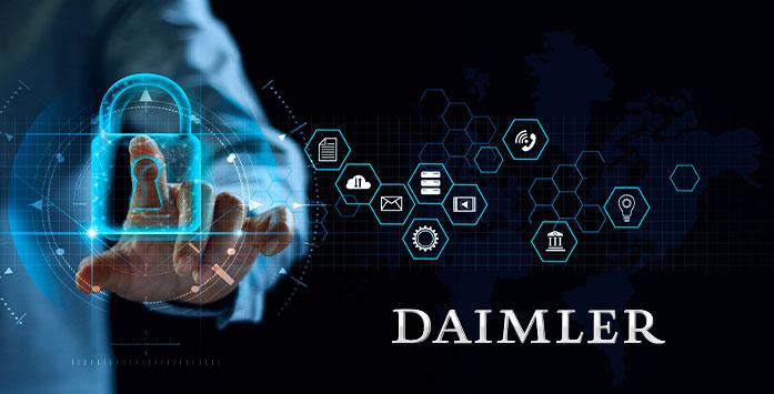 Businessman Holding Virtual Lock and Daimler Logo