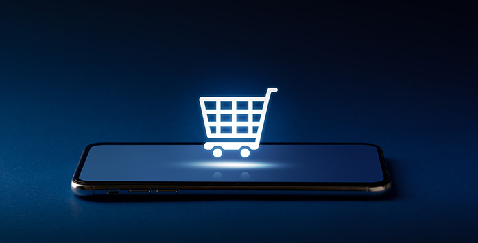 Image of Digital Market Trolley Standing on a Phone