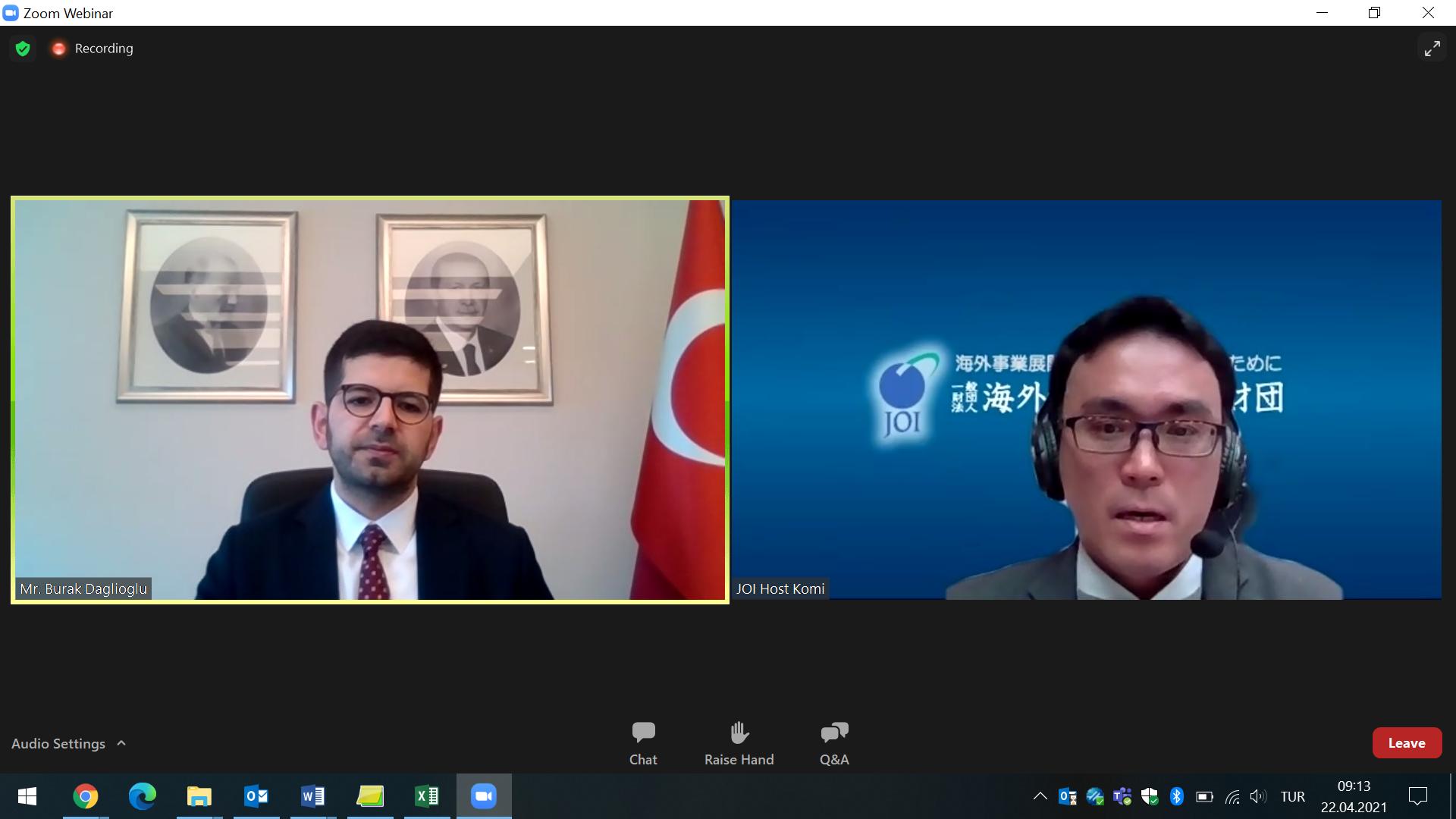 Image of Investment Office President A. Burak Dağlıoğlu at a Webinar