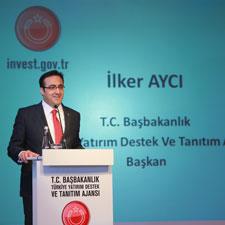 Photograph of İlker Aycı giving a speech