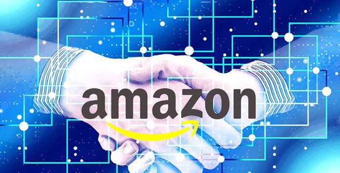 People Shaking Hands and the Amazon Logo
