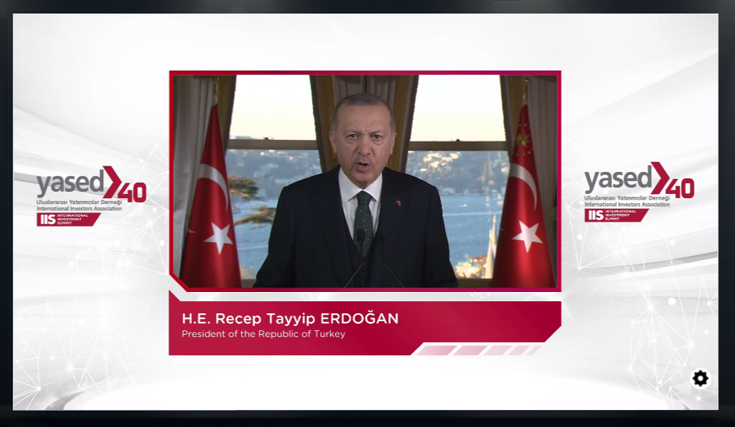 YASED Uluslararası Yatırım Zirvesinde Çekilmiş Recep Tayyip Erdoğan Fotoğrafı