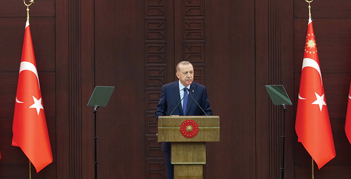Cumhurbaşkanı Erdoğan'ın Konuşma Yaparken Çekilmiş Fotoğrafı