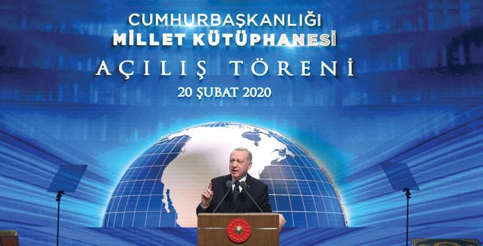 Cumhurbaşkanı Erdoğan'ın Millet Kütüphanesi Açılışını Yaptığı Konuşmada Çekilmiş Fotoğrafı